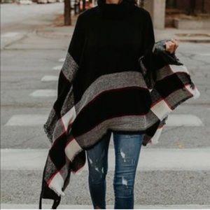 Sweaters - Striped Turtle Neck Poncho